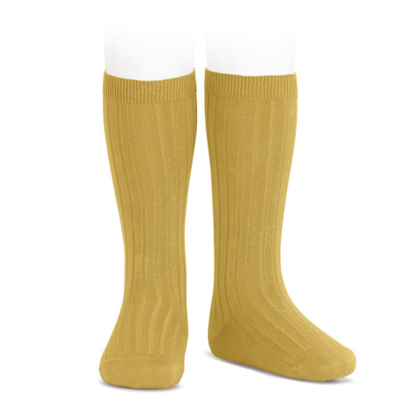wide-rib-knee-high-socks-mustard